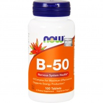 NOW Foods B-50 kompleks witamin B COMPLEX 100 TABLETEK