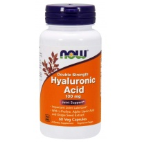 NOW Foods HYALURONIC ACID + ANTIOXIDANTS 100 mg Double Strength KWAS HIALURONOWY + L-Prolina , ALA -suplement diety- 60 kapsułek