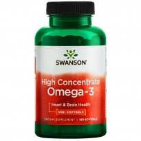SWANSON Omega-3 High Concentrate 120 kapsułek żelowych mini - suplement diety